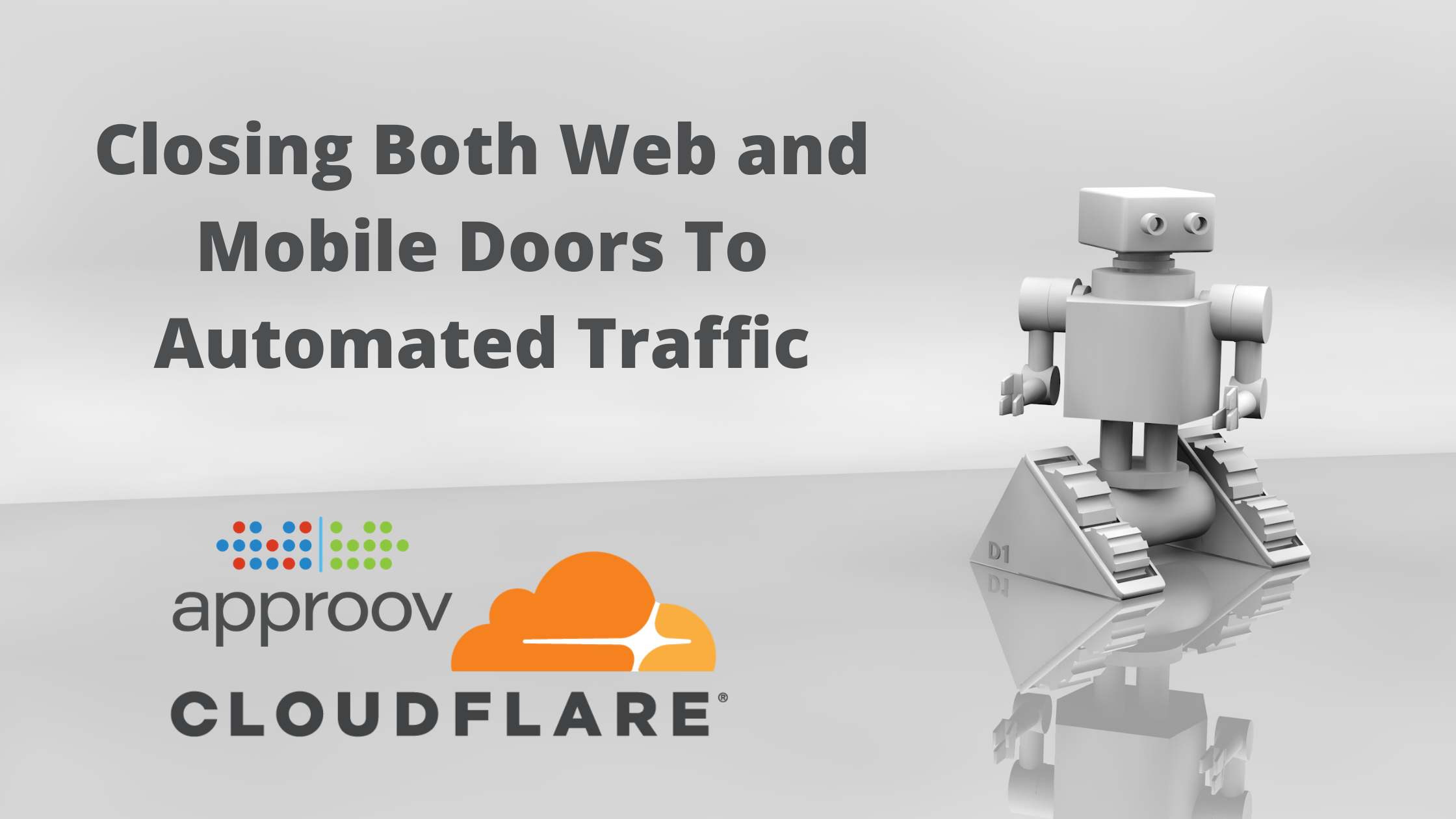 Approov and Cloudflare logos below the article title and a toy robot