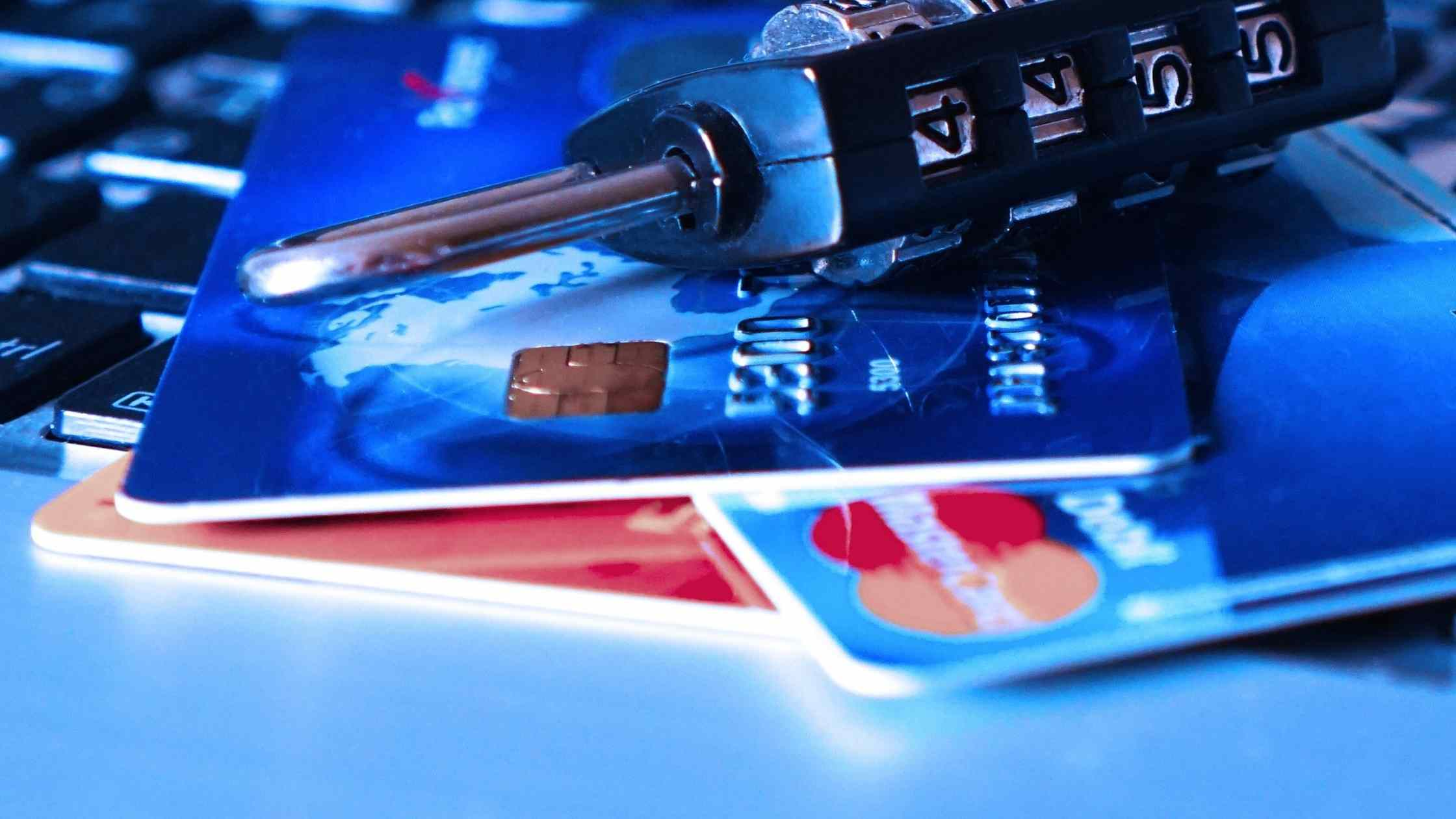 Account security concept; Credit cards with padlock