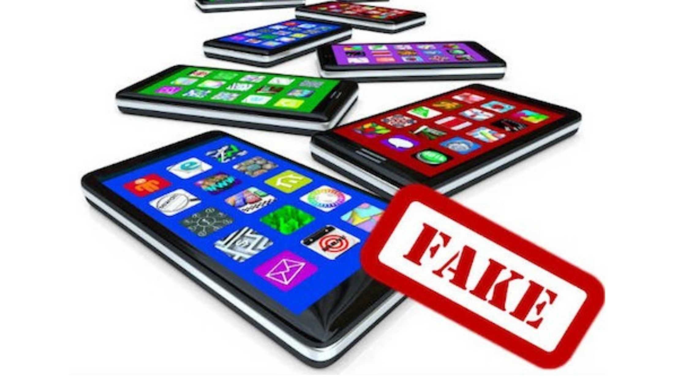 Fake mobile app concept; Graphic of mobile phones showing apps with Fake stamp