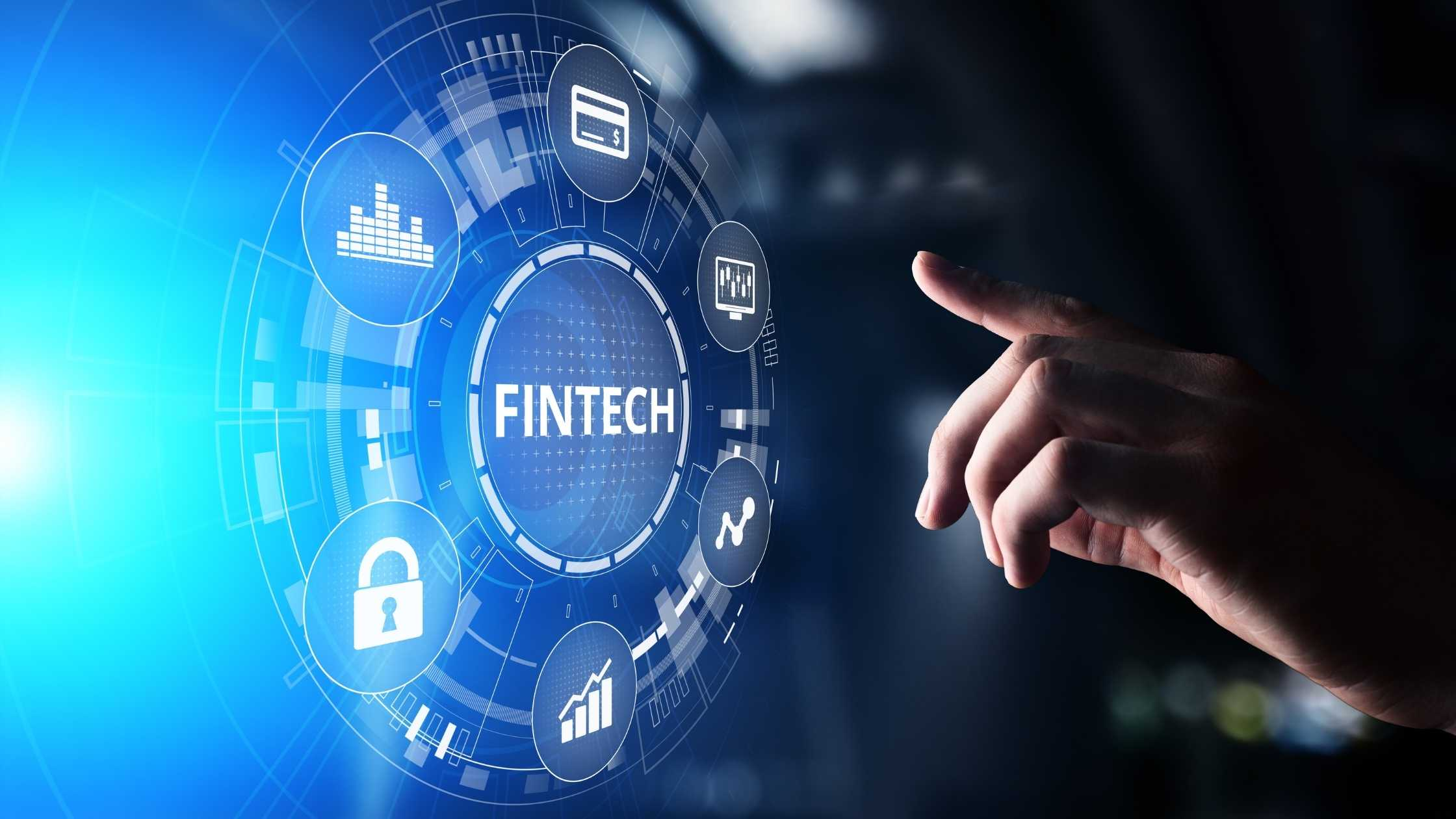 Fintech concept. Fintech illustration with hand reaching out.