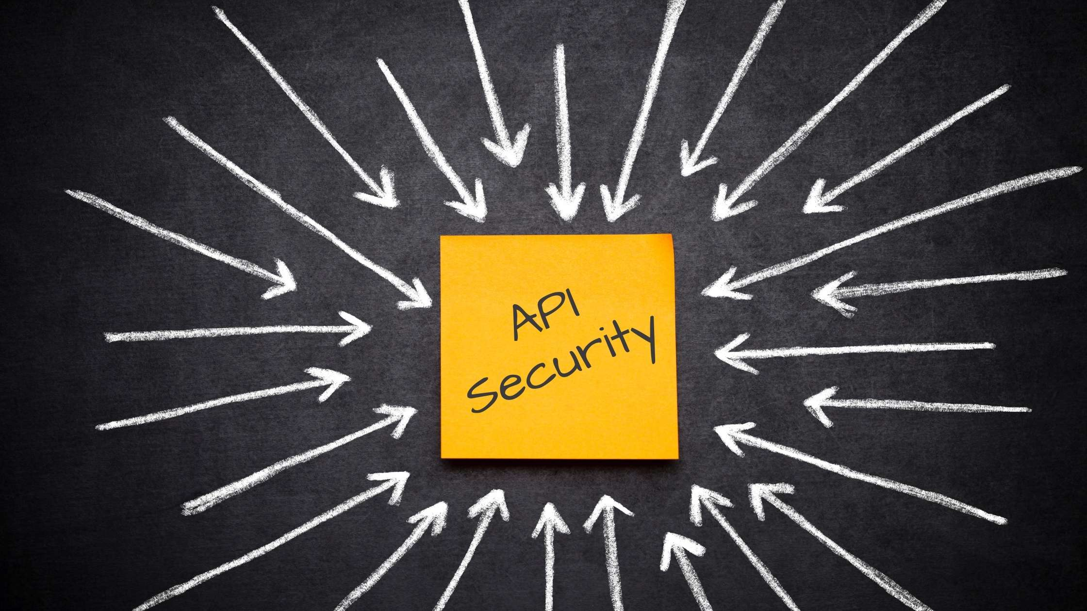 API security concept; Arrows pointing to a post it with API Security written on it