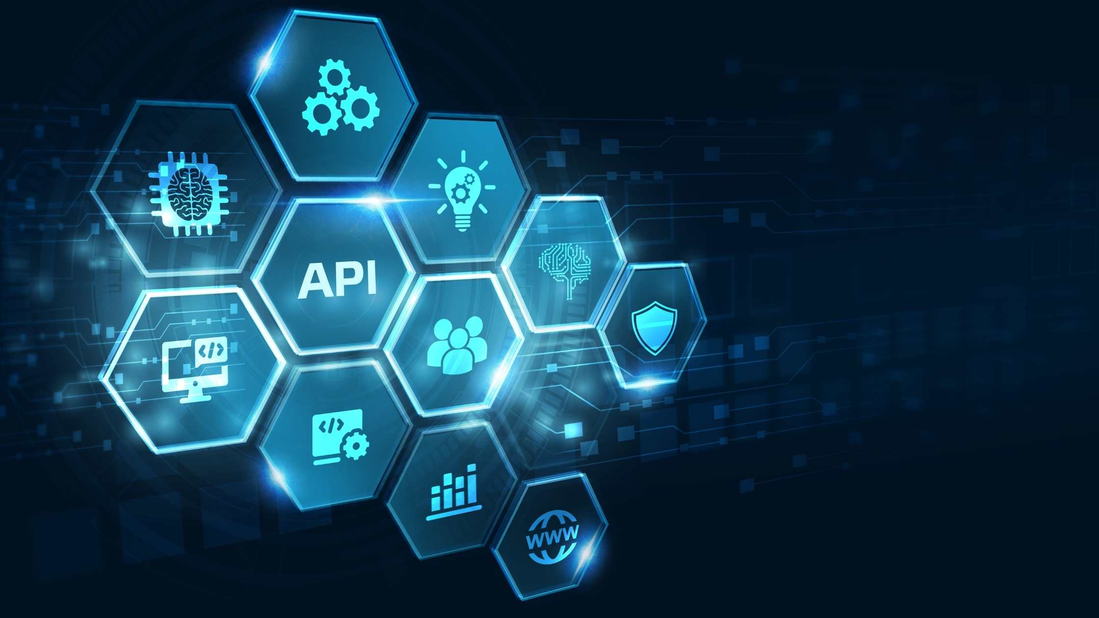 API Application Programming Interface concept, dark background with blue hexagons and technology icons