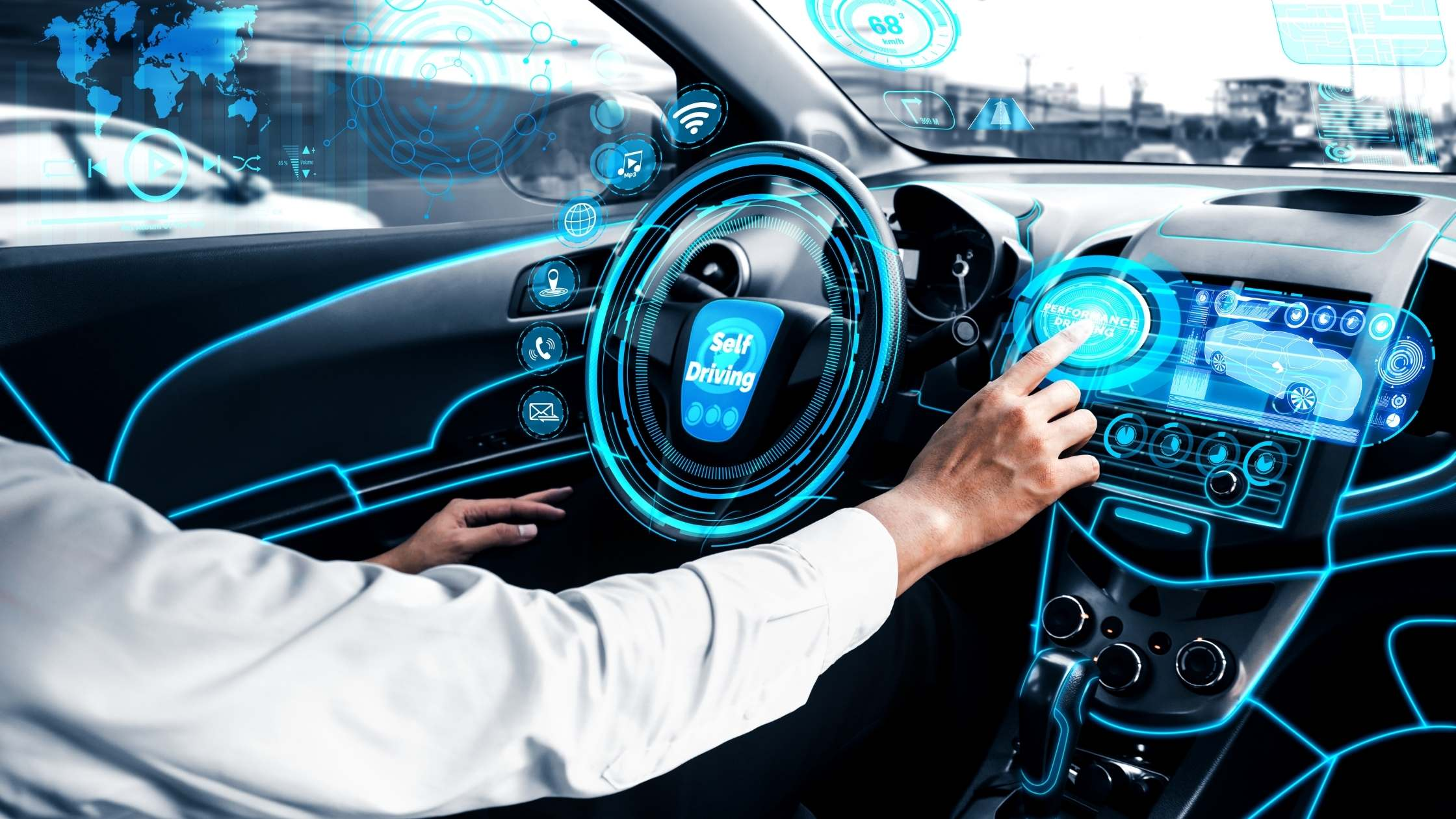 Close up of car interior and driver with a futuristic autonomous vehicle interface.