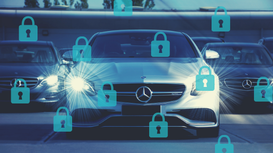 Connected cars security concept; oncoming vehicles with blue overlay and multiple closed padlock icons