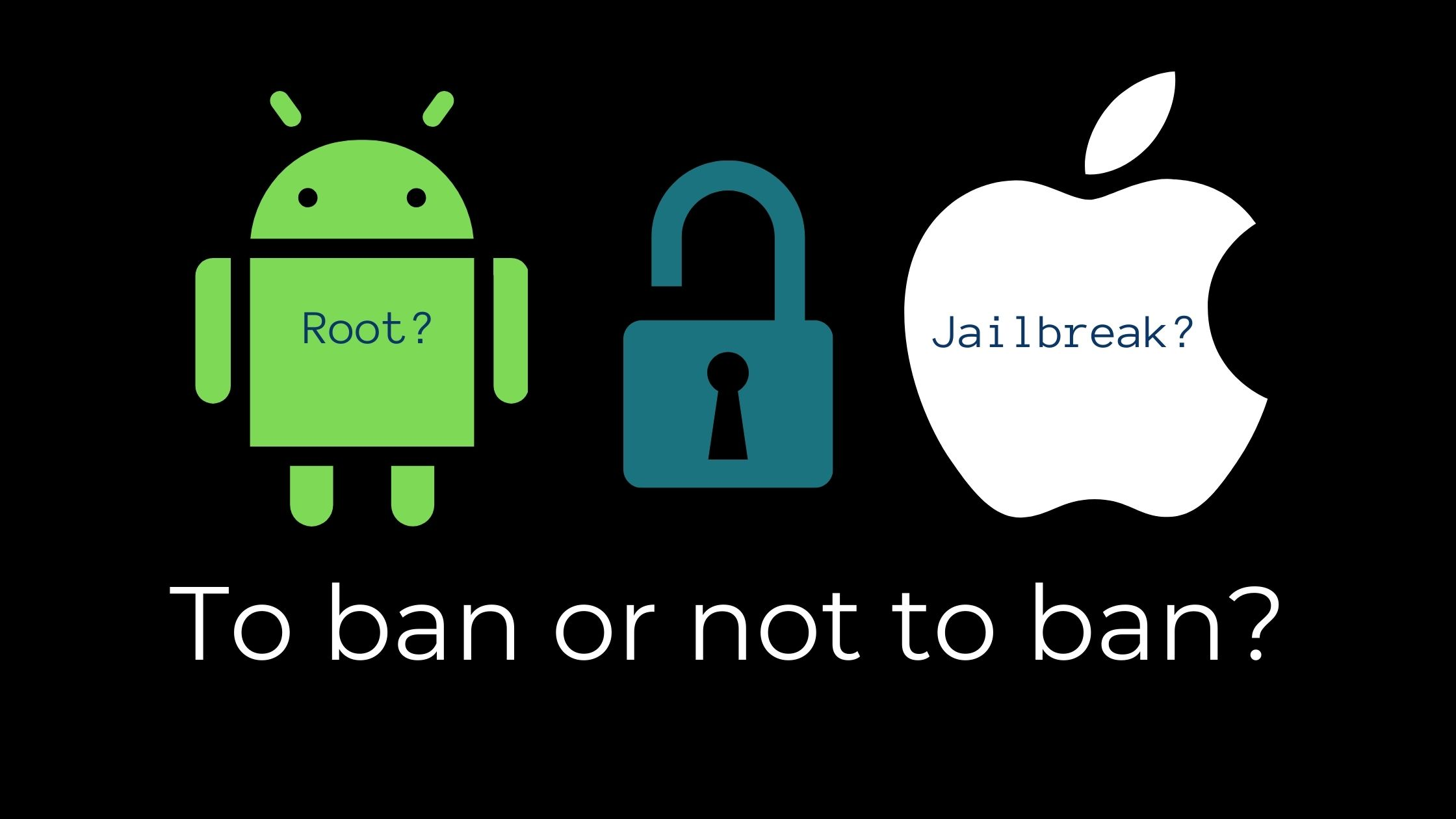 Security concept; green Android icon, blue unlocked padlock and white Apple icon with blog article title