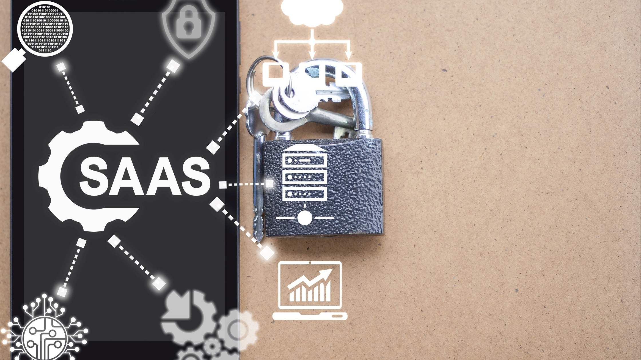 SaaS Security concept; Technology icons with padlock and keys on a brown and black background