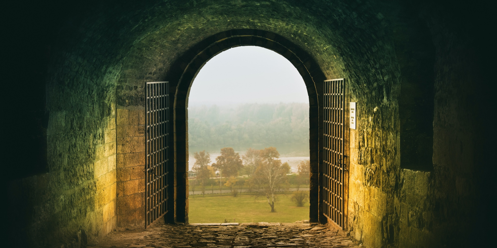 exit gate door view to the countryside
