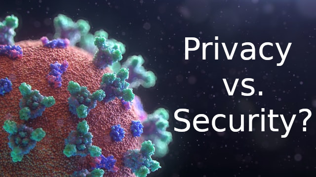 Microscopic view of virus cell on dark background next to text 'Privacy vs. Security'