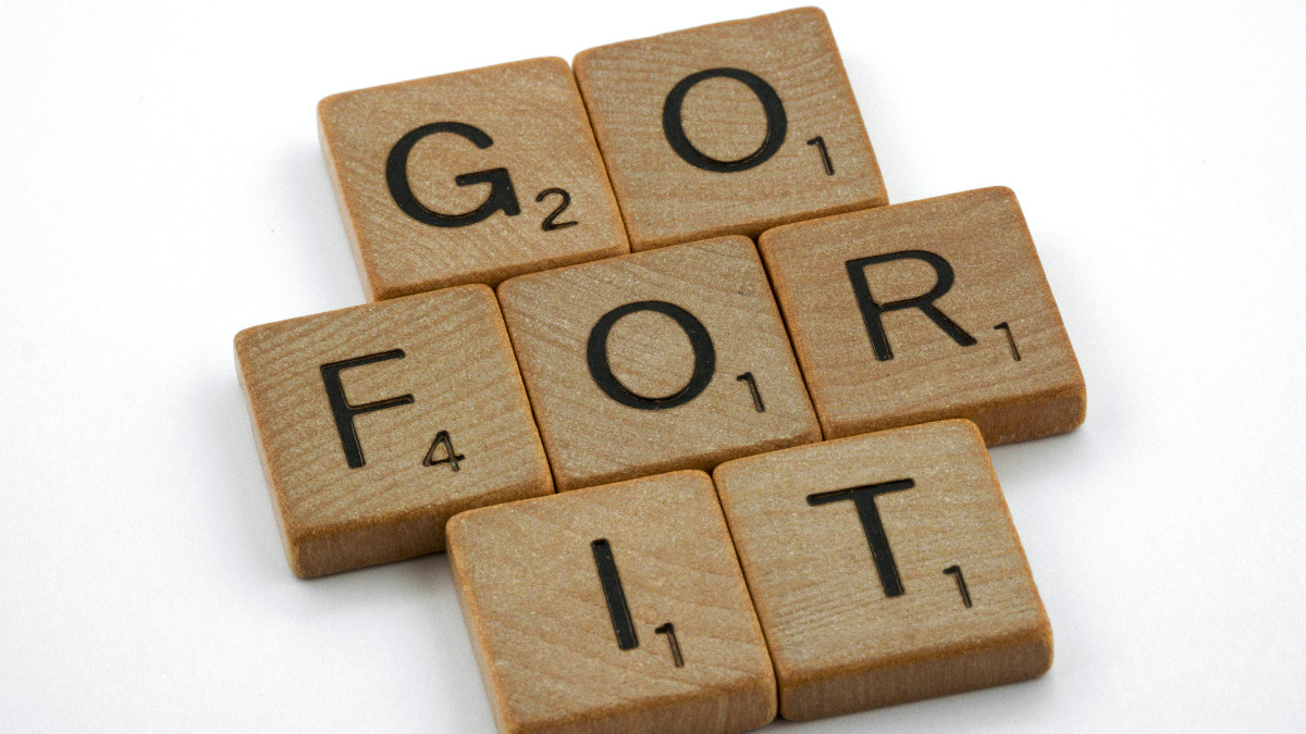 go for it letters in wood squares